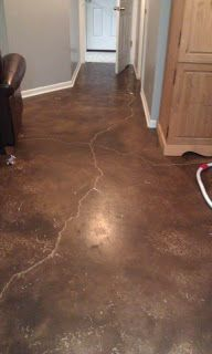 DIY Rustoleum Concrete Stain -- YES!!!  (From Kissed by a Frog's blog)
