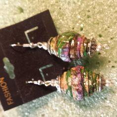 Corrugated paper earrings by CJhandmadeJewelry on Etsy