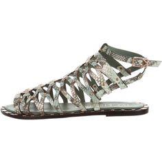 Pre-owned Ivy Kirzhner Santorini Gladiator Sandals (1 710 ZAR) ❤ liked on Polyvore featuring shoes, sandals, animal print, gladiator sandal, leather sandals, greek leather sandals, cut out sandals and cut out gladiator sandals