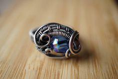 Oxidized Sterling Silver Wire Wrap Ring Swarovski by OurFrontYard