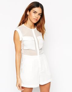 ASOS Playsuit with Sheer Inserts and Oversized Pocket Detail