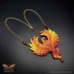 *Phoenix* Magickal, Handmade Statement Art Necklace - wizArts Art Necklaces, Polymer Clay Necklace, Gold Filled Chain, Magick, Unique Art, Wearable Art, Jewelry Art, Phoenix, Swarovski Crystals