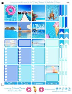Free Beachy/ Summer Printable Planner Stickers For The EC & Recollections Planner - Planner Onelove
