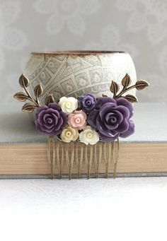 Purple Flower Hair Comb Blush Pink Rose Comb Floral Collage Hair Accessories Bridal Hair Comb Bridesmaids Gift Purple Wedding Branch Comb by apocketofposies on Etsy https://www.etsy.com/listing/246204088/purple-flower-hair-comb-blush-pink-rose