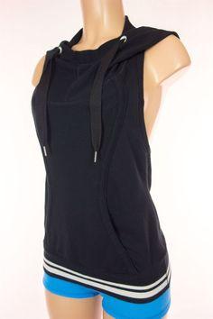 LULULEMON Flashback Hoodie Vest Size 6 S Small Black White Sleeveless Hood Rare #Lululemon #Vests