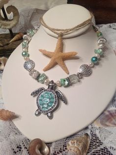 Aqua sea turtle pendant necklace by lilhoneysshoppe on Etsy, $38.00
