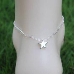 Gold star anklet silver star anklet gold plated anklet