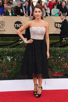 "Actress Sofia Vergara, best known for her role on ""Modern Family,"" opted for a cute short Zuhair Murad dress to attend the 23rd Annual Screen Actors Guild Awards at The Shrine Expo Hall."