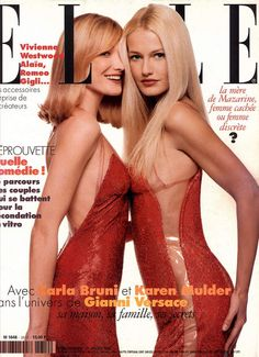 carla bruni & karen mulder  Elle France January 22nd, 1996