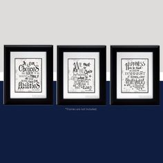 Set of 3 Albus Dumbledore quotes from Harry Potter (Gray & Black colors)  * Frames & Mats NOT included.    Great Gift for a fan of Harry