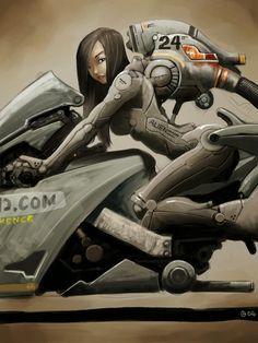 Anime gal on bike by Arte Cyberpunk, Cyberpunk Girl, Character Concept, Character Art, Concept Art, Character Design, Chica Anime Manga, Anime Art, Illustrations