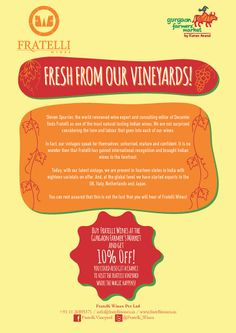 Leaflet for Fratelli Wines for Farmer's Market Gurgaon. FRONT.