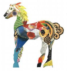 jacqui wegren - collage: toy horse with yellow mane -  no. 2 in a series. found paper on white card