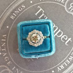 Stunning Vintage Edwardian Engagement Ring with Old European Cut Halo | Scarborough  from Trumpet & Horn