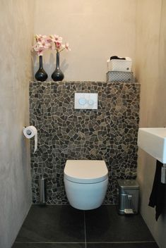 Besides the kitchen region, your toilet is one particular part of your house your entire family use more frequently. The wall-mounted toilet may be a significant space saver and are able to make your bath floor seem bigger, tidier and… Continue Reading → Toilet Wall, Guest Toilet, Toilet Room, Small Toilet, Downstairs Toilet, Wc Design, Toilet Design, Bathroom Toilets, Small Bathroom