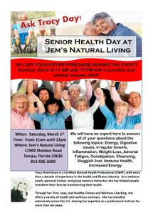 We have a Senior Health Day at Jem's Natural Living on Saturday, March 1st! 30% OFF ALL PURCHASES DURING THE EVENT! #senior #wellness #shoptampa #shoplocal #jemsnaturalliving