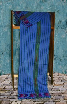 Handmade Bright Blue Zacualpa Bedspread. Fair Trade from Guatemala. Fabulous Brilliant Blue with a woven band at the top and bottom. Its woven on a back-strap loom in panels and then joined with decorative embroidery. Cotton. With Two Matching Pillow Covers.
