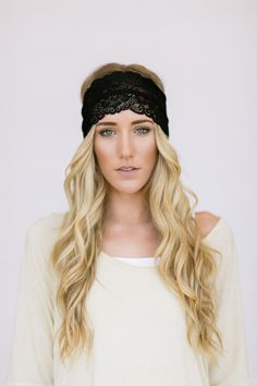 Infinity Black Wide Lace Headband Black Lace by ThreeBirdNest, $22.00