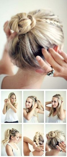 Braids into a braided bun  40 Quick Hairstyle Tutorials For Office Women