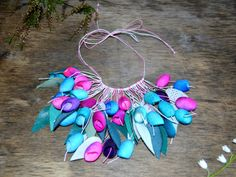 necklace pendants silk cocoon purple lilac pink blue by batikelena
