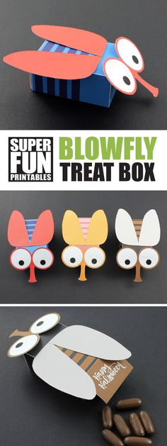 Printable blowfly treat box for Halloween. This is a fun craft idea for kids!