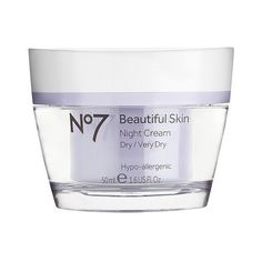 No7 Beautiful Skin Night Cream Dry/Very Dry . oz (320 CZK) ❤ liked on Polyvore featuring beauty products, skincare, face care, face moisturizers, boots no7, dry skin face moisturizer, sensitive skin face moisturizer and face moisturizer