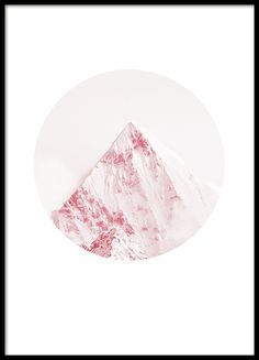 Stylish photo print with pink mountain top inside a circle. www.desenio.com