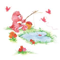 Care Bears: Love-a-Lot Bear Fishing Pictures Images, Photos, Care Bears Vintage, Bear Art, New Wallpaper, Kawaii Cute, Retro, Home Art, My Little Pony