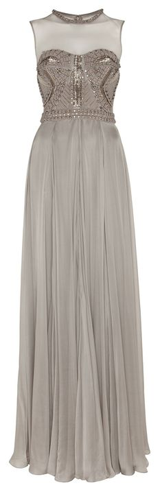 Temperley London Chiffon Gown with Embroidered Swarovski Crystals, Faux Pearls and Beads