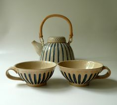 A Pair of Striped Teacups in Sand and Blue. $48.00, via Etsy.