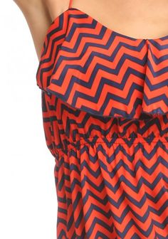 Ruffle Top Zig Zag Orange Dress $25