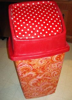 I can't find a cute garbage can for my office so I think I'll make one like this! Love it!