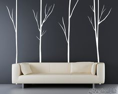 This is a beautiful, modern, one color tree wall decal set that is easy to apply and will brighten any room, especially an office, family room, living room, bedroom, hallway, entryway, baby nursery, baby's room, kid's room, classroom, children's room, or playroom. It features four floor-to-ceiling trees for standard 8 ft. walls. Choose a color that compliments your interior space making it perfect! You can even arrange all of the trees and branches however you would like!