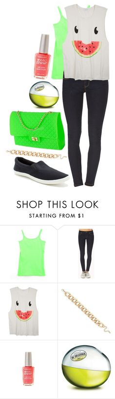 """""""Watermelon Summer Outfit"""" by underwater-city ❤ liked on Polyvore featuring Forever 21, MOOD, Wet n Wild and DKNY"""