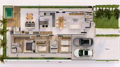 Planta de casa térrea com pé direito duplo e ambientes sociais integrados. Possuí uma área gourmet ampla e um spa/ofurô. A área íntima é totalmente reservada e conta com 3 dormitórios, sendo 1 deles suíte com closet. Minimal House Design, Minimal Home, Future House, My House, Narrow Lot House Plans, House Construction Plan, Kerala House Design, Kerala Houses, House Layouts
