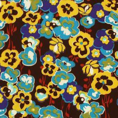 Blue Pansy Garden Jersey ITY Knit Fabric