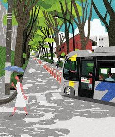 Delightful editorial illustration for Japanese magazines by Ryo Takemasa Magazine Illustration, City Illustration, Landscape Illustration, English Conversation For Kids, Ryo Takemasa, Old Art, Minimalist Art, Illustrations Posters, Editorial