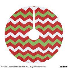 Modern Christmas Chevron Pattern Brushed Polyester Tree Skirt