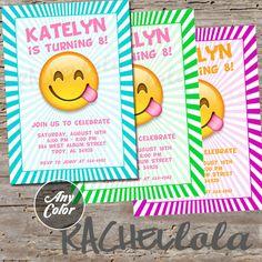 Emoji Invitations Invite Tie Dye Tween Teen By JSdayDesigns