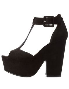 T-Strap Chunky Platform Heels by Charlotte Russe - Black