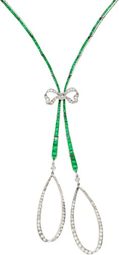 Art Deco Emerald, Diamond, Platinum Necklace.
