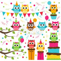 Owl Party Set Royalty Free Stock Vector Art Illustration
