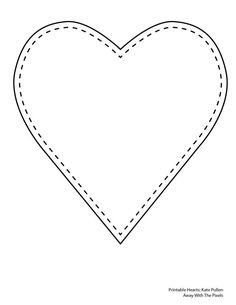 5 Free Heart Shaped Printable Templates for Your Craft Projects: Single Heart With Stitched Border