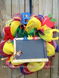 ABC Teacher Chalkboard Wreath by DazzlinDoorzbyKristi on Etsy, $65.00