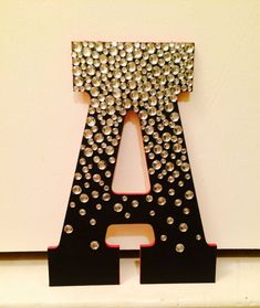 Jeweled Wooden Letter by UniversityColors on Etsy