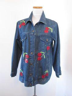 Vintage Cherry Embellished Denim Jean Jacket by MarjoriesMemories
