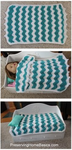 Chevron Pattern American Girl Doll blanket