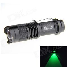 UltraFire SK68 LED XP-E Q5 Green Light 100lm 3-Mode Zooming Flashlight - Black (1 x 14500). Note: We are currently unable to ship to addresses in HongKong, mainland of China. New arrived high quality UltraFire SK68 water-resistant 100lm LED flashlight (green light), through adjusting the telescoping head, you can get spot beam and flood beam as you need; Ideal for climbers, forest explorers, hunters and fishers, etc. Features: - Using XP-E Q5 lamps, max brightness 120lm, irradiation distance…