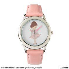 illusima Isabella Ballerina Kid's Stainless Steel Pink Leather Strap Watch. Website: www.illusima.com www.zazzle.com/illusima_designs/products