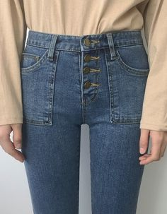 Button-up jeans ~ the real OG king of denim! Cool Hair Color, Asian Fashion, Button Up, Mom Jeans, Fashion Shoes, Cool Hairstyles, Porn, Wings, Cute Outfits